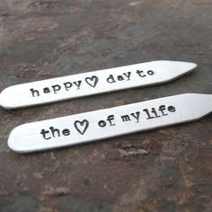 Personalized Collar Stays, Aluminum, Happy Valentine's Day to the Love of My Life, mens accessories, gifts for him, gifts for husband