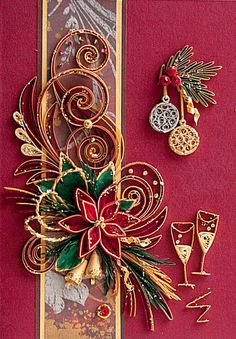Red Christmas Greeting Card With Christmas Eve Flower, Glasses of Champaign, and Balls