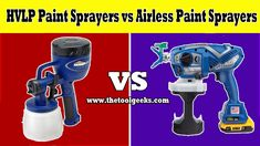 HVLP Paint Sprayers vs Airless Paint Sprayers: What's the difference? - The Tool Geeks Paint Sprayer Reviews, Hvlp Paint Sprayer, Paint Sprayers, Using A Paint Sprayer, Painted Cups, Painting Cabinets, Paint Brushes, Geeks, Geek Stuff