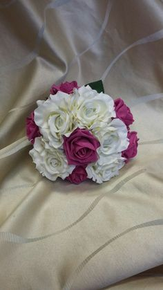 hot pink and white foam rose Hand tied bouquet's #wedding flowersbyLaura.com