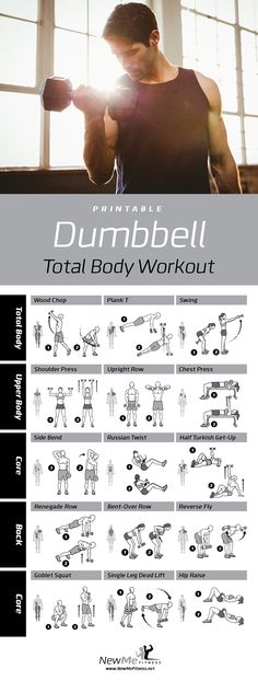 Dumbbell workout for all your major muscle groups Build your dream body! is part of Workout - Fitness Workouts, Fitness Motivation, Yoga Fitness, At Home Workouts, Body Workouts, Fitness Diet, Weight Training, Weight Lifting, Dumbbell Workout