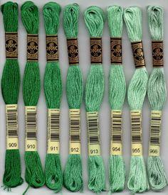 - DMC six-stranded embroidery floss - 900 series. 900 - Burnt Orange - Dark; 902 - Garnet - Very Dark; 904 - Parrot Green - Very Dark; 905 - Parrot Green - Dark; 906 - Parrot Green - Medium; 907 - Parrot Green - Light; 909 - Emerald Green - Very Dark; 910 - Emerald Green - Dark; 911 - Emerald Green - Medium; 912 - Emerald Green - Light; 913 - Nile Green - Medium; 915 - Plum - Dark; 917 - Plum - Medium; 918 - Red Copper - Dark; 919 - Red Copper; 920 - Copper - Medium; 921 - Copper; 922…