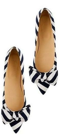 Adorable Cute Black And White Striped Flats  #