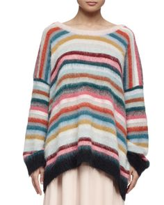 Chloe Striped Mohair-Blend Oversized Sweater, Pastel/Multi