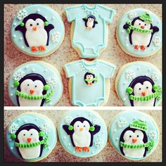 Penguin cookies for baby shower - For all your cake decorating supplies, please visit craftcompany.co.uk