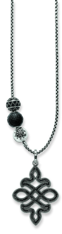 With the Spring/Summer collection, THOMAS SABO launches the new Karma Beads jewellery range. Key Jewelry, Beaded Jewelry, Beaded Necklace, Jewellery, Bracelet Men, Men Necklace, Bracelets For Men, Silver Stacking Rings, Silver Rings