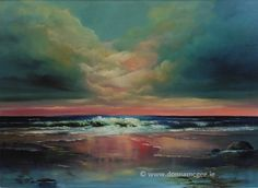 Spectacular Seascapes off the Coast of Ireland: The Wild Atlantic Way - Vast, rugged, untamed shores! This is where land and sea collide and the undulating waves beat a rhythm to the shore. Art Competitions, Breaking Dawn, Online Art Gallery, Oil On Canvas, Contemporary Art, Waves, Sky, Fine Art, November