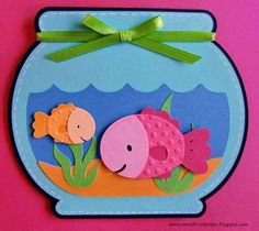 Create a Critter - Fish, bowl, water and plant on page Bits of Paper: Best Fishes - Throwback Thursday Challengenice color choices on the fishI made this card for my niece who is celebrating her birthday. I decided to incorporate the rules for thi Fish Crafts, Diy And Crafts, Crafts For Kids, Paper Crafts, Create A Critter, Cricut Cards, Animal Crafts, Summer Crafts, Kids Cards