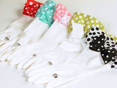 """Adorable rubber gloves trimmed to match your fav Simply Whimsical apron, embellished with a """"diamond ring"""" for bling! Use for dishwashing or gardening, latex free."""