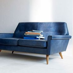 Denmark Faceted Loveseat, Leather, French Navy