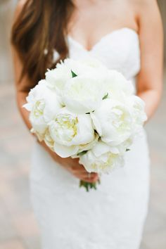 Beautiful all white peony bridal bouquet