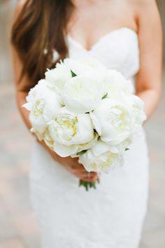 Beautiful all white peony bridal bouquet