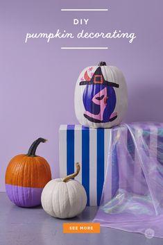 Our absolute best, totally essential pumpkin painting tips - Think. Black Pumpkin, Diy Pumpkin, Pumpkin Crafts, White Paint Pen, White Acrylic Paint, Spirit Halloween, Happy Halloween, Types Of Pumpkins, Plastic Pumpkins