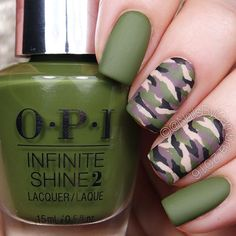 I honestly can't even see my middle and ring finger nails  Camo nails are surprisingly easy to paint! Should I make a YouTube tutorial for them? Let me know  Also come check out my pro page @pronailsbycambria to see what I'm doing at the salon!  @opi_products Infinite Shine Olive For Green, Set In Stone, We're In The Black, Don't Pretzel My Buttons, and Matte Top Coat @twinkled_t #00 nail art brush and #6 cleanup brush  @sechenails Seche Vite