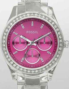 New Fossil ES2604 Women's Fuchsia Face Crystals Bezel Clear Band Watch   eBay