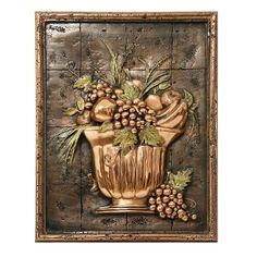 Design Tuscany Mediterranean Fruit Bowl Backsplash Mural Tile, Copper, As Shown Tuscan Design, Copper Accents, Mediterranean Home Decor, Copper Kitchen, Kitchen Backsplash, Raisin, Exterior Design, Design Elements, Hand Carved