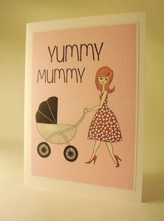 Pink Yummy Mummy Motherys day card With fifties inspired floral dress and killer heels A6 in size with insert, Blank inside for own message