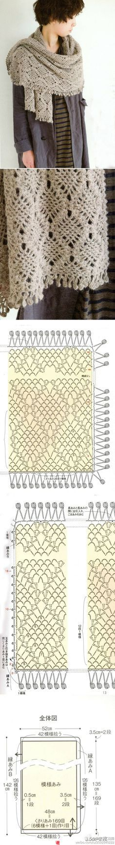 #crochet, free chart, diagram, shawl, wrap, #haken, gratis haakschema, sjaal, shawl, stola, #haakpatroon