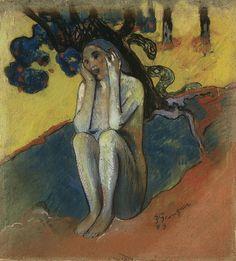 Breton Eve, 1889, Paul Gauguin Size: 33.7x31.1 cm Medium: pastel, watercolor on paper