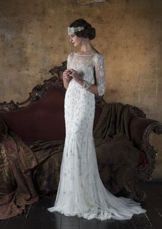 3/4 length sleeves beaded art deco inspired wedding dress by Eliza Jane Howell