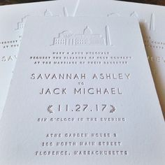 Letterpress invitations with Washington DC monuments blind embossed and wording foil stamped in modern and simple style Letterpress Invitations, Diy Invitations, Letterpress Printing, Invitation Design, Invites, Stationery Items, Stationery Paper, Simple Wedding Invitations, Wedding Stationery