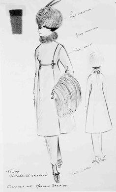 Costume Sketch of Geraldine Chaplin by Phyllis Dalton Dr Zhivago, Doctor Zhivago, Fashion History, World Of Fashion, Alec Guinness, Turner Classic Movies, Fantasy Films, Drama Film, Beautiful Drawings
