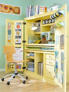 crafts area from an old entertainment center, just add shelves and other items specific to your draft needs.  #entertainment #center #repurpose