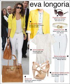 eva longoria yellow blazer, eva longoria style, eva longoria airport  (Pinned because...I don't know how to wear blazers effectively :P)