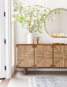 All the hearts in our eyes for this super luxe take on a classic sideboard. It's perfect mix of mid-century detail with tapered legs and bohemian detail make this a must have for any budding interior guru. Living Room Shop, Living Room Decor, Sideboard Dekor, Credenza, Modern Sideboard, Sideboard Ideas, Teak Sideboard, Sideboard Cabinet, Cabinet Ideas