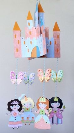 What a great gift! Homemade Fairy Princess Mobile. From Cricut Once Upon a Princess Cartridge by matilda