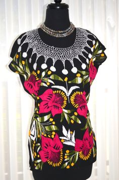 Vibrant Multicolor Mexican Hand Embroidered Blouse by Vtgantiques, $87.99