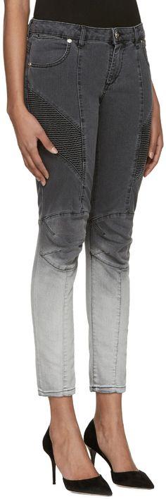 aeb3de7a Pierre Balmain - Grey Two-Tone Biker Jeans Balmain Clothing, Balmain Jeans,  Biker