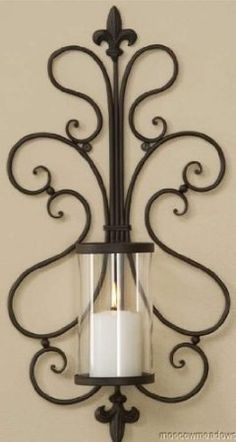 Amazon.com - New Fleur De Lis French Hurricane Wall Candle Holder Sconce Metal Art Tuscan Decor