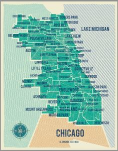 Chicago in teal on a map.
