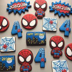 Adorable Spiderman Birthday Set- Custom Decorated Cookies - Paige's Home Spiderman Cookies, Spiderman Birthday Cake, Superhero Cookies, Avengers Birthday, Superhero Birthday Party, 4th Birthday Parties, Boy Birthday, Birthday Gifts, Spiderman Theme Party