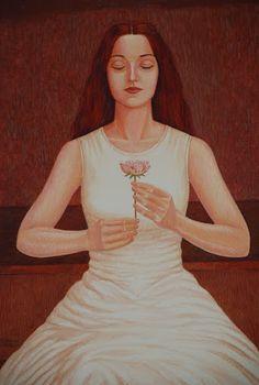 Meditation 2006, Gouache on paper - 73x52cm by Javad Azarmehr