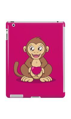 """Monkey Love"" iPad Cases & Skins by Savousepate on Redbubble #ipadcase #tabletcase #ipadskin #tabletskin #monkey #ape #love #heart #valentinesday #cute #kawaii #pink #magenta #fushia #brown"