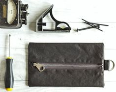 Waxed Canvas Tool Pouch Flat Pack Craft Tools by WildMarshmallow