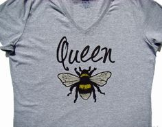 Queen Bee Ladies V neck tee shirt Super cute by SweetBohemianLife