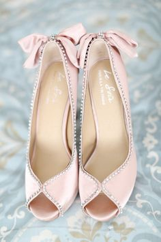 How divine are these pale pink peep toe bridal shoes with crystal embellishment?