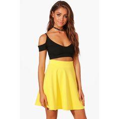 Boohoo Tamsin Fit & Flare Highwaist Mini Skirt (29 PEN) ❤ liked on Polyvore featuring skirts, mini skirts, midi skirt, high waisted maxi skirt, high waisted skirt, pleated midi skirt and high-waist skirt