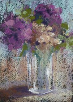 Hydrangeas Still Life  5x7 Original Pastel by Karen Margulis