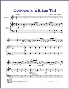Overture to William Tell - Free Easy Clarinet Sheet Music Free Clarinet Sheet Music, Trumpet Sheet Music, Easy Sheet Music, Piano Sheet Music, Music Music, Music Lesson Plans, Music Lessons, Free Printable Sheet Music, Keyboard Lessons
