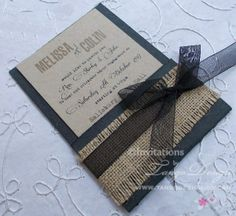 black pocket with rustic country effect by www.tangodesign.com.au #burlap invitations #hessian invitations #pocket invitations