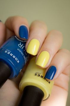 Like the colors! *korres distributed by Johnson & Johnson in North America which tests on animals* Navy Blue Nails, Light Blue Nails, Hot Nails, Hair And Nails, Yellow Nails Design, Yellow Nail Polish, Organic Nails, Beauty Nails, Pretty Nails