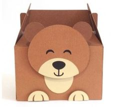 FREE DIY 3D cut file» Shape 20: Caixa Ursinho by Nilmara Quintela - from Silhouette Brazil-- bear food lunch party gable box treat gift favour woodland forest animal zoo wild life outdoors camping