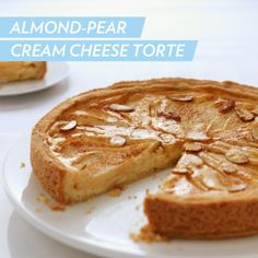 """We like to call this Almond-Pear Cream Cheese Torte the """"instant friend maker"""". #dessert #recipe"""