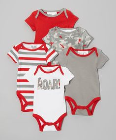 This Peanut Buttons Red & Gray Bodysuit Set - Infant by Peanut Buttons is perfect! #zulilyfinds