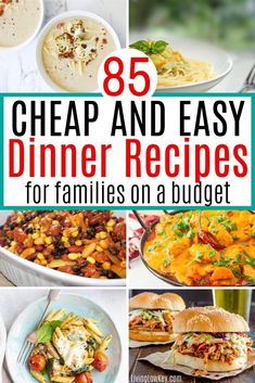 Quick and easy dinner recipes for a family on a budget. These cheap dinner ideas will save you time and money. These easy recipes require few ingredients. #easydinnerrecipes #dinnerrecipes #cheapmeals Cheap Meals To Cook, Cheap Vegetarian Meals, Cheap Dinners, Frugal Meals, Budget Meals, Vegetarian Recipes, Easy Meals, Easy Dinner Recipes, Easy Recipes