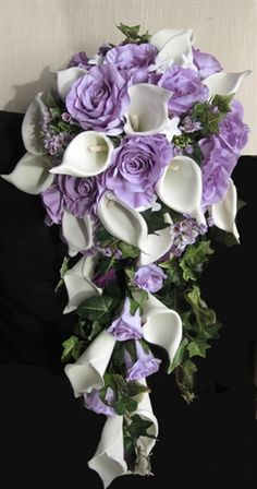 Off White Calla Lilies & Lavender Steling Roses Cascade Bouquet Ivory Wedding Flowers, Cascading Wedding Bouquets, Wedding Flower Guide, Cascade Bouquet, Bride Bouquets, Bridal Flowers, Flower Bouquet Wedding, Bridesmaid Bouquet, Floral Wedding